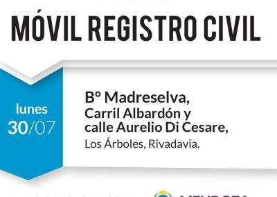 El móvil del Registro Civil estará en el distrito Los Árboles