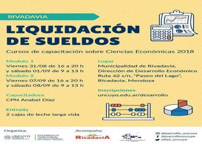 Dictarán curso sobre liquidación de sueldos en Rivadavia